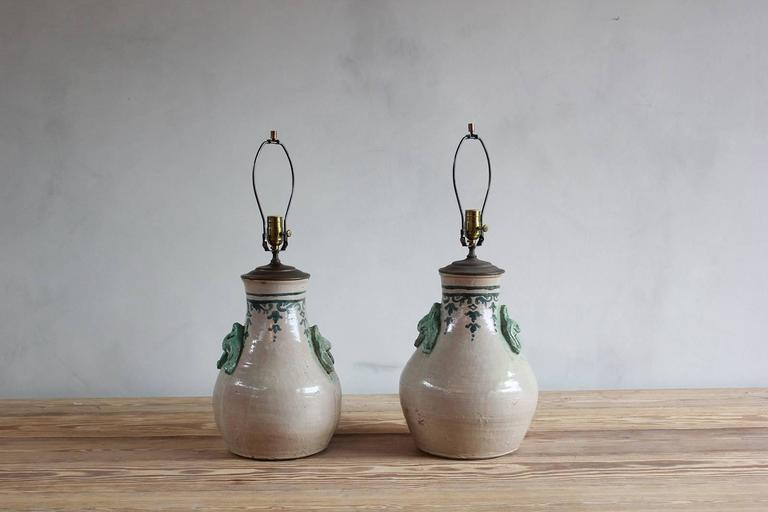 Pair of Ceramic Lamps with Celadon Glazed Embellishments and Blue Details For Sale 2