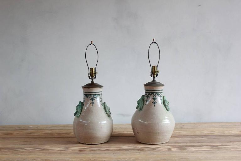 Pair of Ceramic Lamps with Celadon Glazed Embellishments and Blue Details For Sale 3