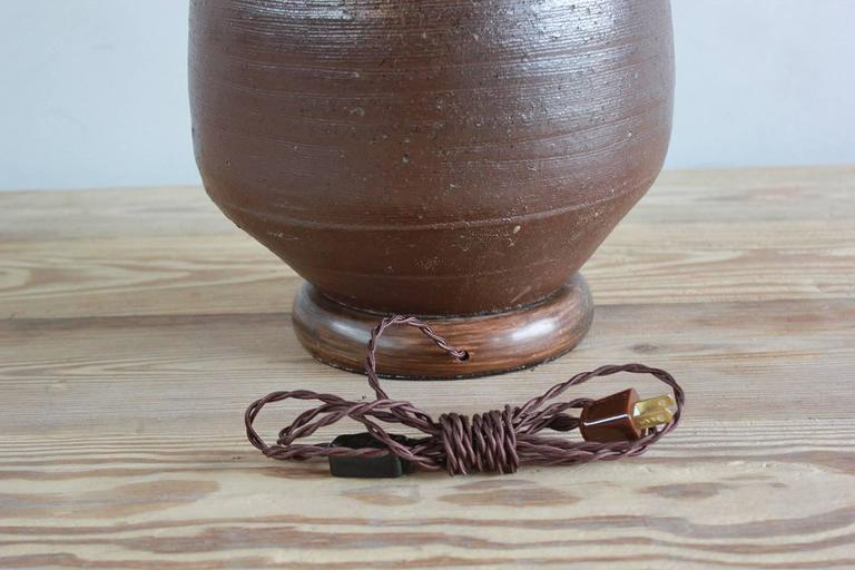 Ceramic Handmade Brown Glazed Table Lamp For Sale 2