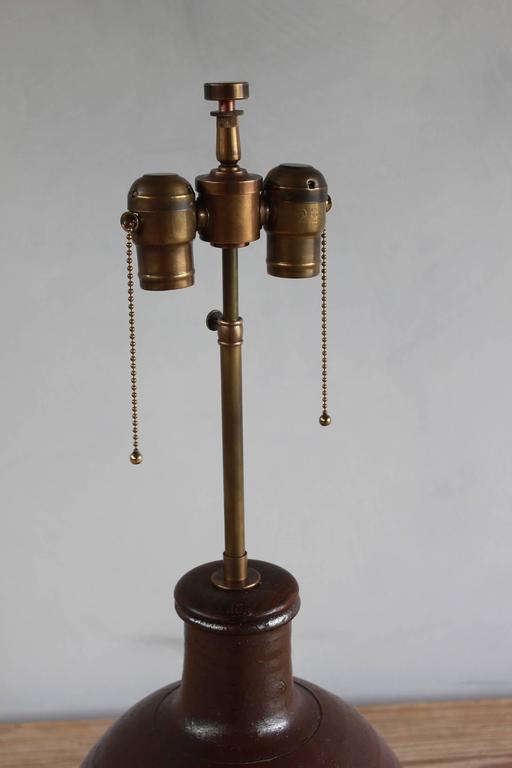 Ceramic Handmade Brown Glazed Table Lamp For Sale 3