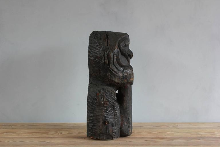 Sogi Style Charred Figural Wooden Sculpture 3