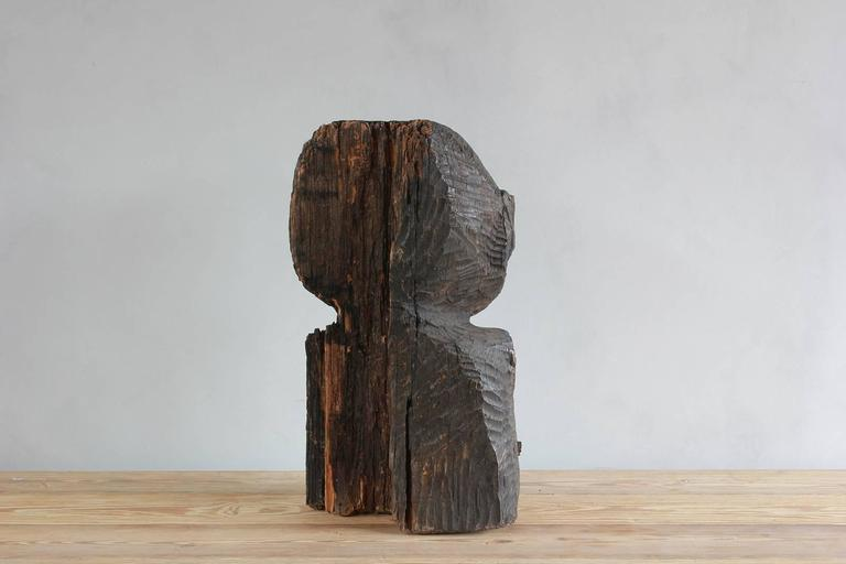 Mid-20th Century Sogi Style Charred Figural Wooden Sculpture For Sale