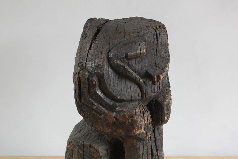 Sogi Style Charred Figural Wooden Sculpture For Sale 1