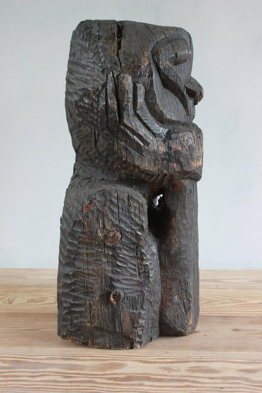 Sogi Style Charred Figural Wooden Sculpture For Sale 6
