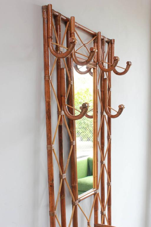 Mid-20th Century French Bamboo Tree Coat Rack with Built in Mirror and Umbrella Stand For Sale
