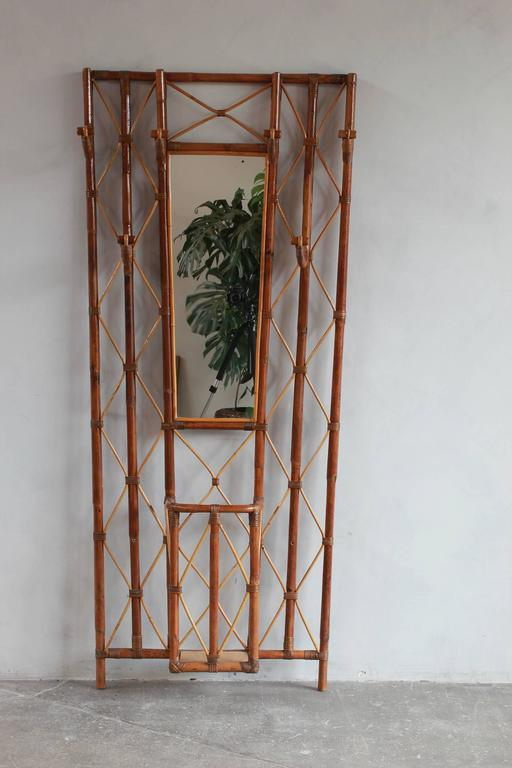 French bamboo tree coat rack with built in mirror and umbrella stand.