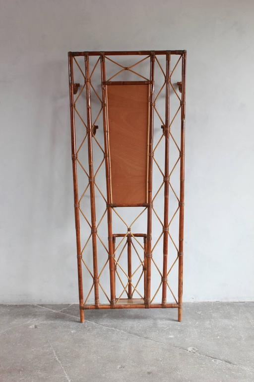 French Bamboo Tree Coat Rack with Built in Mirror and Umbrella Stand For Sale 2