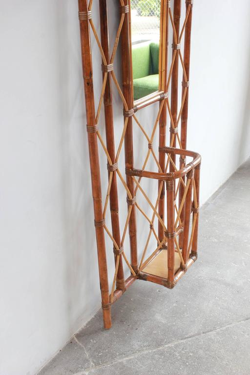 French Bamboo Tree Coat Rack with Built in Mirror and Umbrella Stand For Sale 4