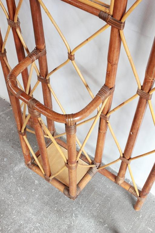 French Bamboo Tree Coat Rack with Built in Mirror and Umbrella Stand For Sale 5