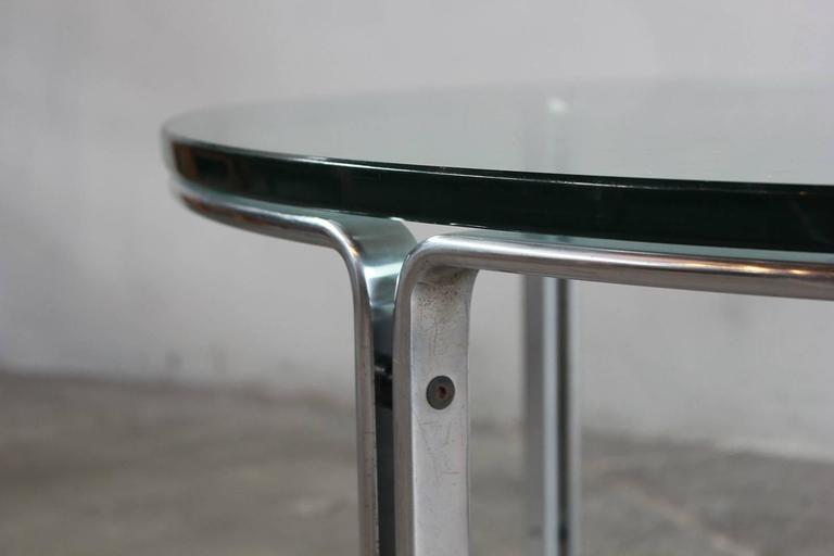 Round Metal and Steel Coffee Table with Glass Top 4