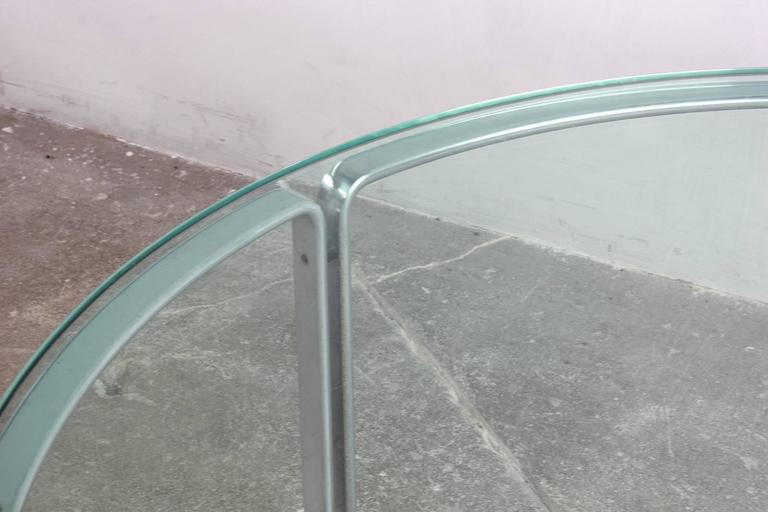 Round Metal and Steel Coffee Table with Glass Top 5