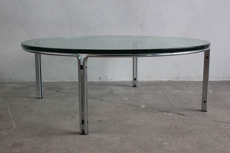 Round Metal and Steel Coffee Table with Glass Top 7