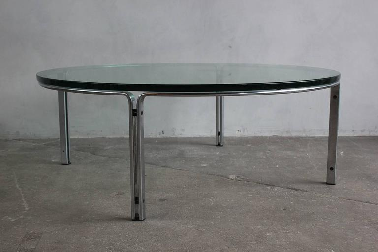 Round Metal and Steel Coffee Table with Glass Top 6
