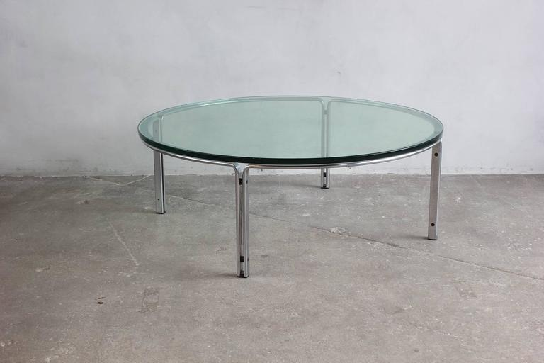 Round Metal and Steel Coffee Table with Glass Top 2