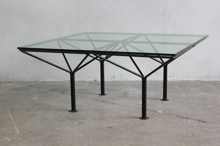 Paulo Piva B & B Italia style small table with glass top.