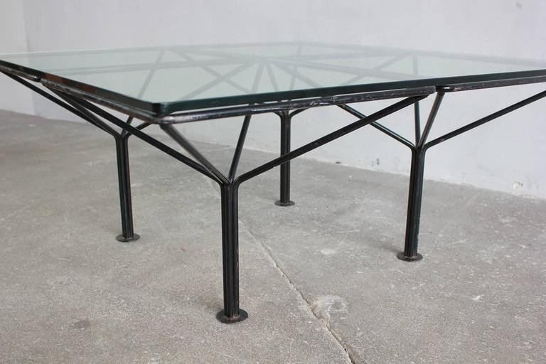 Paulo Piva B & B Italia Style Small Table with Glass Top In Excellent Condition For Sale In Los Angeles, CA