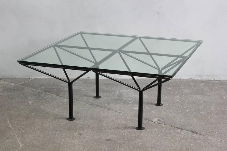 Mid-20th Century Paulo Piva B & B Italia Style Small Table with Glass Top For Sale
