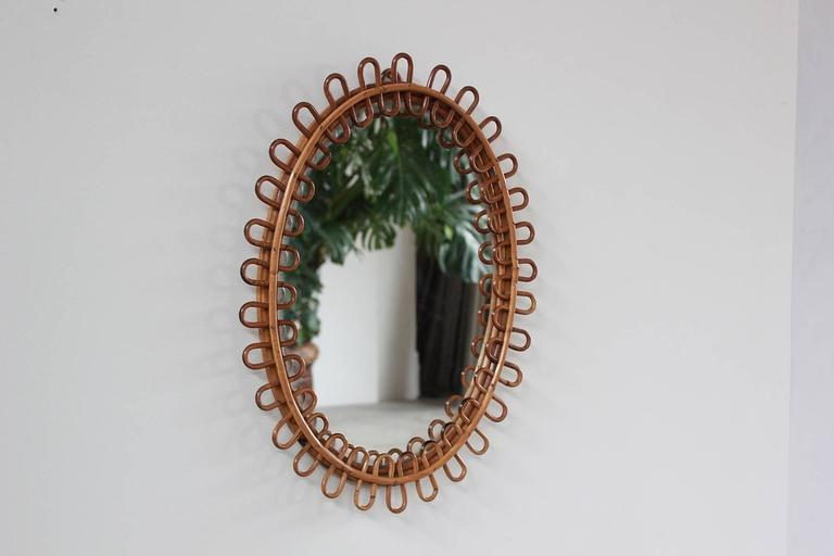 Small Curled Wicker French Oval Mirror 2