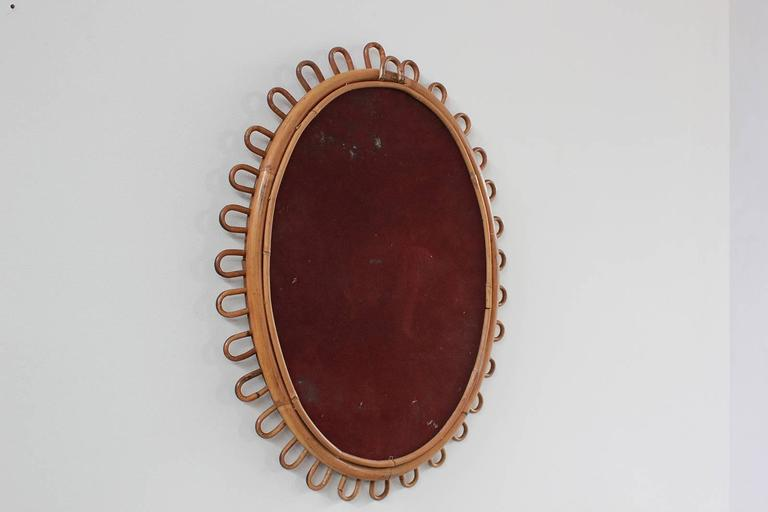 Small Curled Wicker French Oval Mirror 4