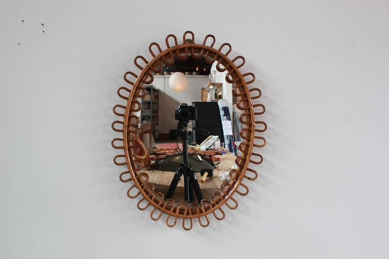 Small Curled Wicker French Oval Mirror 5