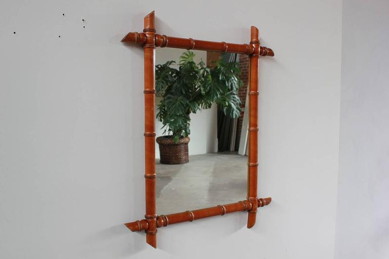 Rectangular French Bamboo Mirror 2