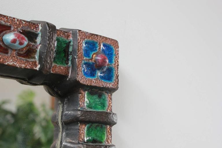 Petite Colorful Ceramic Tile French Mirror 3