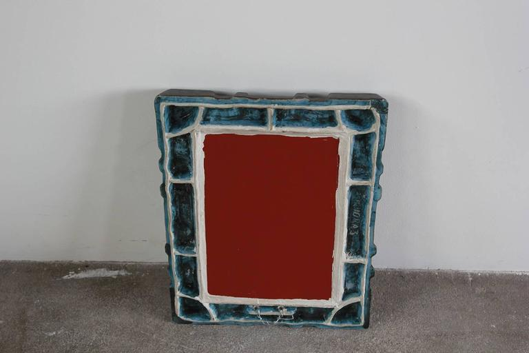 Mid-20th Century Petite Colorful Ceramic Tile French Mirror For Sale