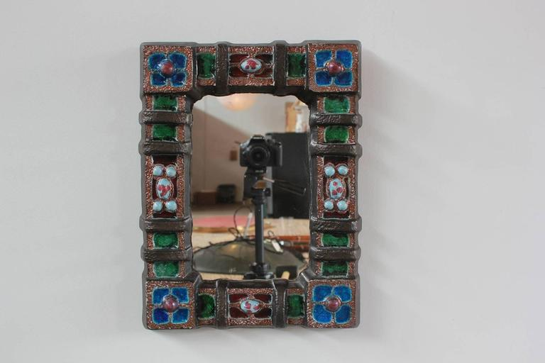 Petite Colorful Ceramic Tile French Mirror 5