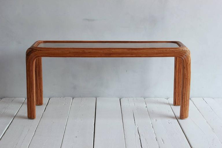 Gabriella Crespi Style Bamboo Console with Glass Top 2