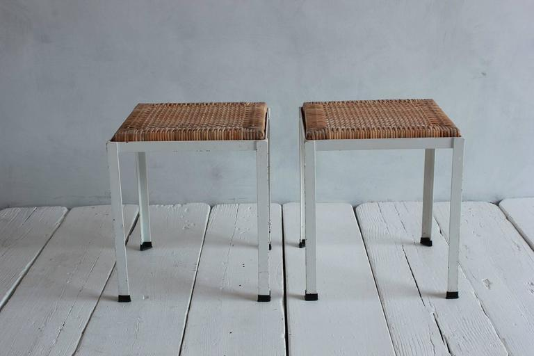 Pair of Danny Ho Fong White Iron and Rattan Stools 2