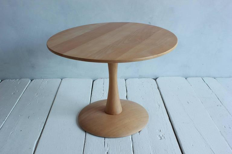 Round Low Oak Side Table on a Tulip Pedestal Base 2