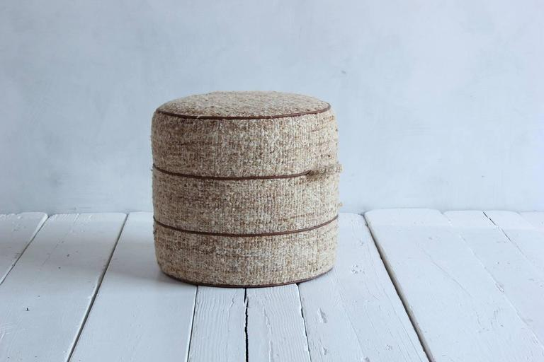 Nickey Kehoe Collection Small Round Hassock Upholstered in Boucle Fabric 2