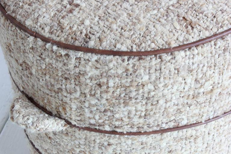 Nickey Kehoe Collection Small Round Hassock Upholstered in Boucle Fabric 3
