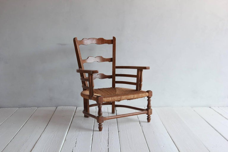 Pair of Low French Farmhouse Chairs with Woven Rush Seat For Sale 1