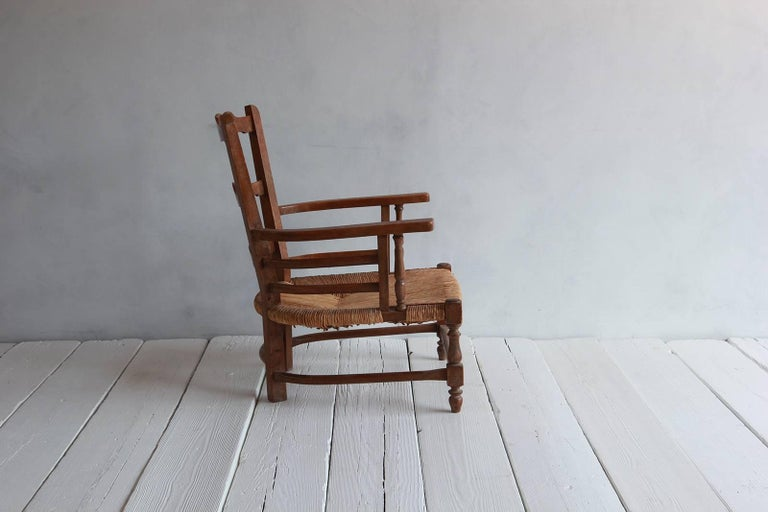 Pair of Low French Farmhouse Chairs with Woven Rush Seat For Sale 3