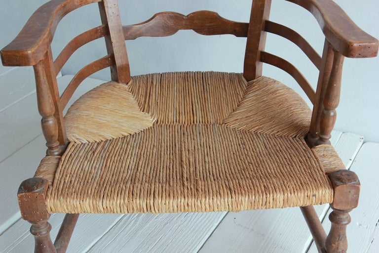 Pair of Low French Farmhouse Chairs with Woven Rush Seat For Sale 4