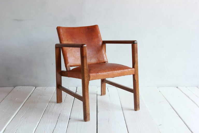 Pair of Borge Mogensen Style Leather and Wood Chairs In Distressed Condition For Sale In Los Angeles, CA