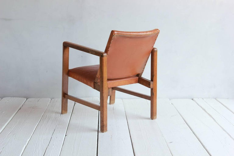 Pair of Borge Mogensen Style Leather and Wood Chairs 4
