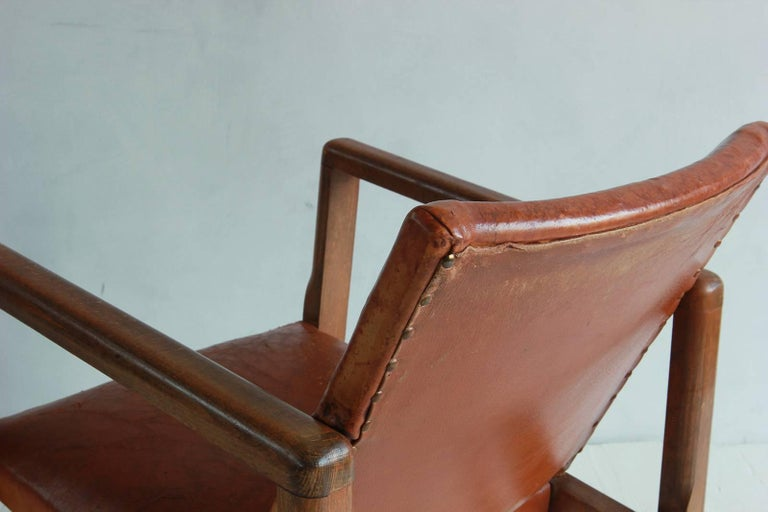 Pair of Borge Mogensen Style Leather and Wood Chairs 5