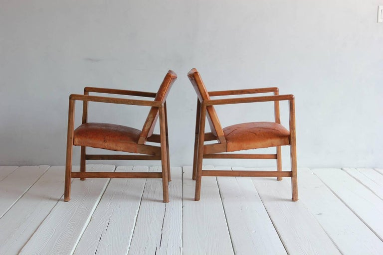 Pair of Borge Mogensen Style Leather and Wood Chairs For Sale 2