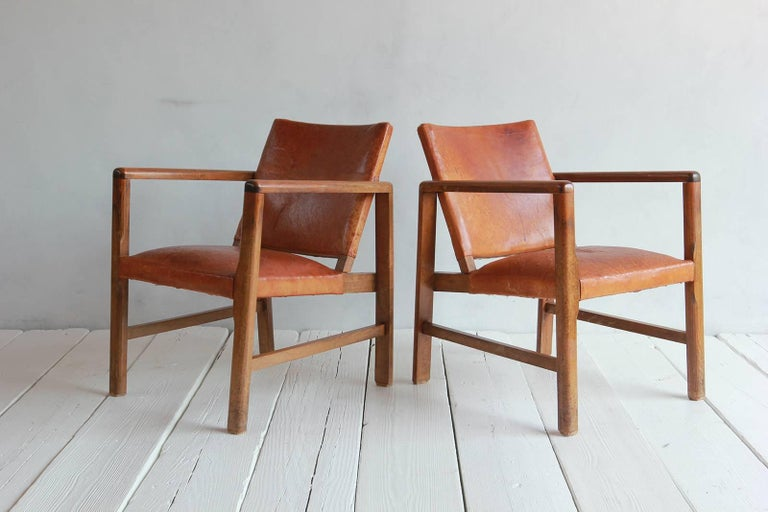 Pair of Borge Mogensen Style Leather and Wood Chairs For Sale 3