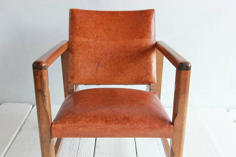 Pair of Borge Mogensen Style Leather and Wood Chairs For Sale 4