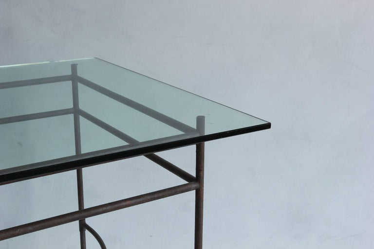 Tall Iron and Glass Table 2