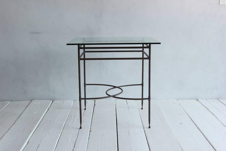 Tall Iron and Glass Table In Excellent Condition For Sale In Los Angeles, CA
