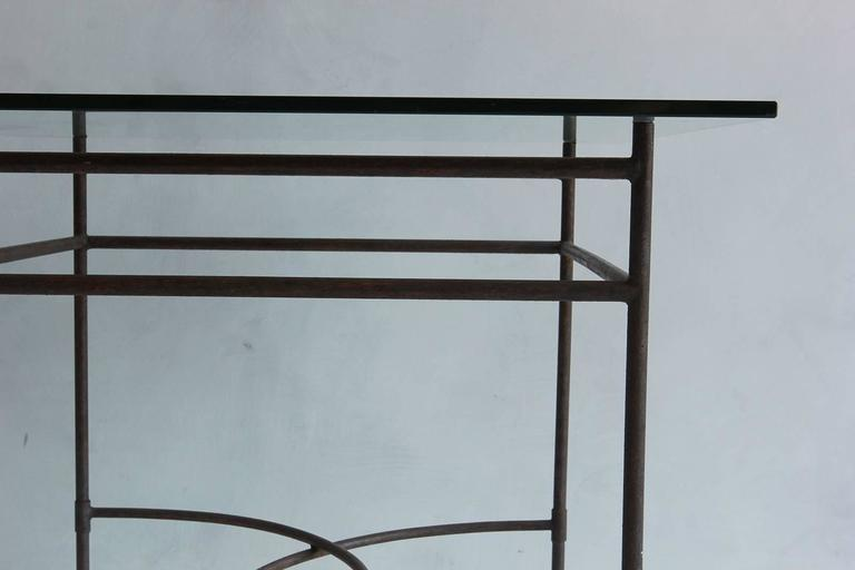 Mid-20th Century Tall Iron and Glass Table For Sale