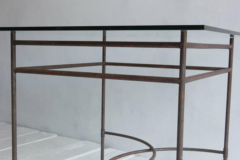 Tall Iron and Glass Table For Sale 1