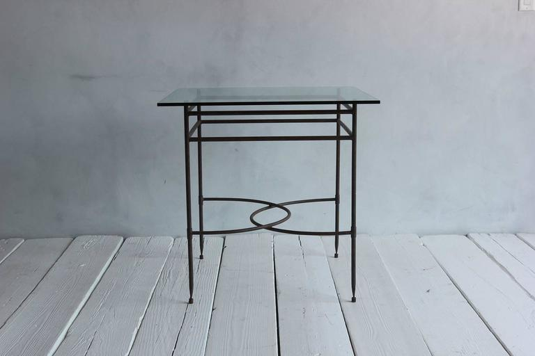 Tall Iron and Glass Table For Sale 3