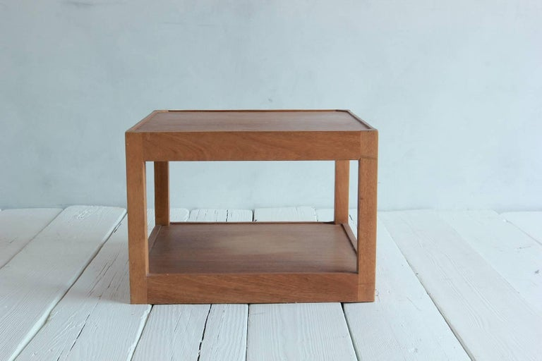 Walnut Side Table with Bottom Shelf and Parson Style Legs with Single Drawer 2