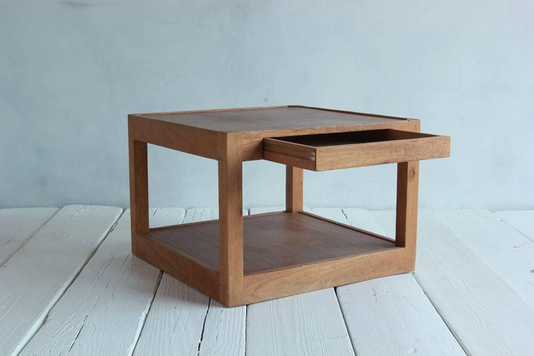 Walnut Side Table with Bottom Shelf and Parson Style Legs with Single Drawer 3
