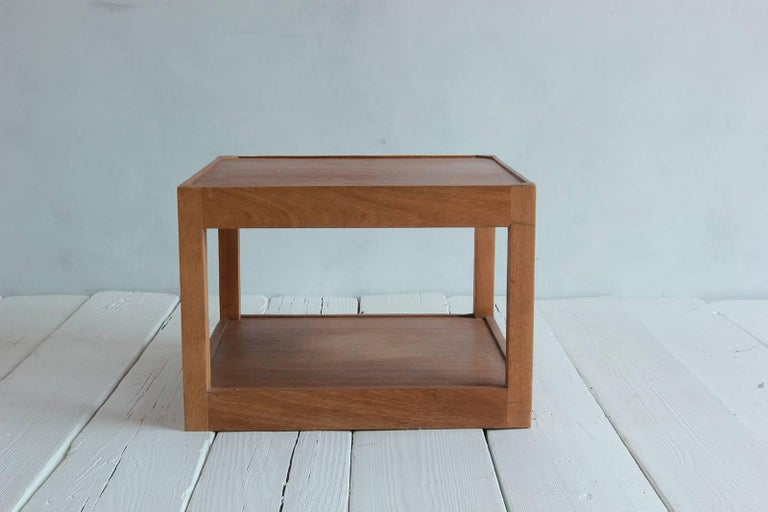 Walnut Side Table with Bottom Shelf and Parson Style Legs with Single Drawer 4